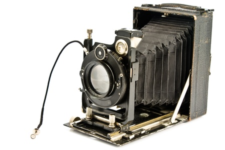 color photographs: Old photo Camera isolated on white Stock Photo