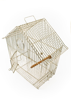 escapement: Empty Bird Cage with opened door isolated on white