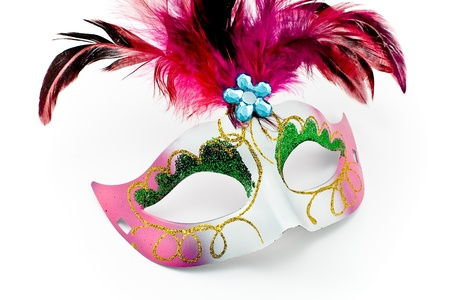 Carnival mask with feathers and diamon isolated on white photo