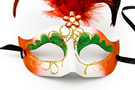 Carnival mask with feathers and diamond isolated on white Stock Photo - 9018193