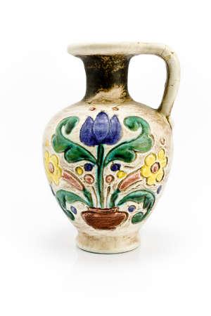 Old Vase isolated on white photo