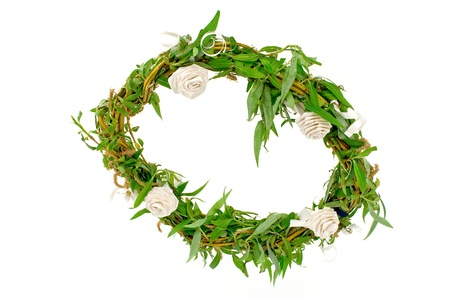 Willow branches wreath isolated on white