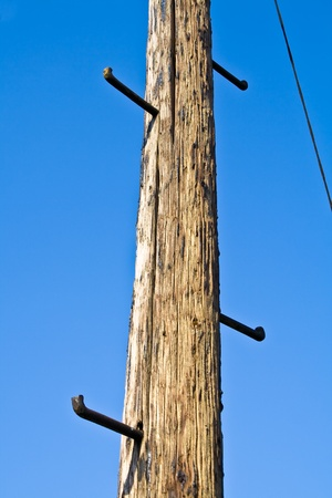 rungs: Old telephone pole with rungs for climbing on blue sky  Stock Photo