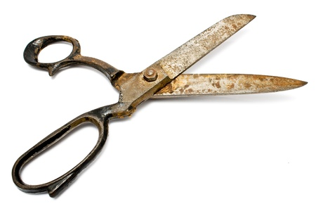 Old rusty sewing scissors isolated on white Stock Photo - 9673197