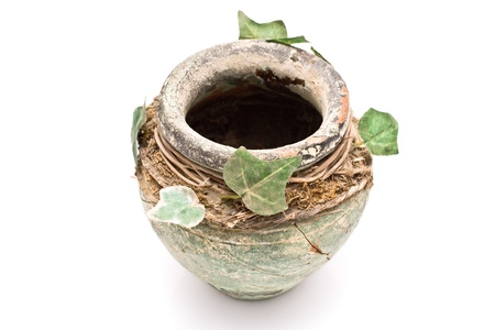 Old rustic clay pot with leaves isolated on white photo
