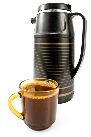Cup of coffee with black thermos isolated on white Stock Photo - 9873814