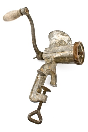 Old manual meat grinder isolated on white Stock Photo