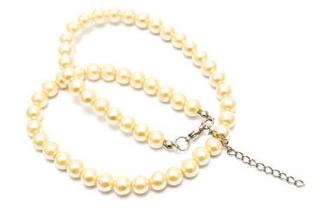 Pearl Necklace isolated on white Stock Photo - 9873812