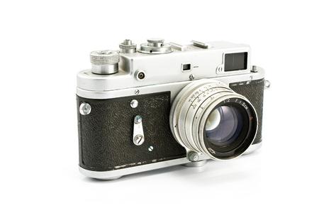 photo camera: Vintage macchina fotografica pellicola isolato su bianco