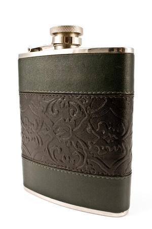 Hip flask isolated on white background photo
