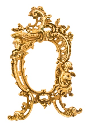 Antique baroque brass frame isolated on white photo