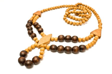Necklace with wooden beads isolated on white Stock Photo - 9988900