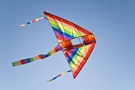 Kite flying over blue sky photo