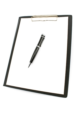vertical orientation: Black clipboard with pen and paper isolated on white  Stock Photo