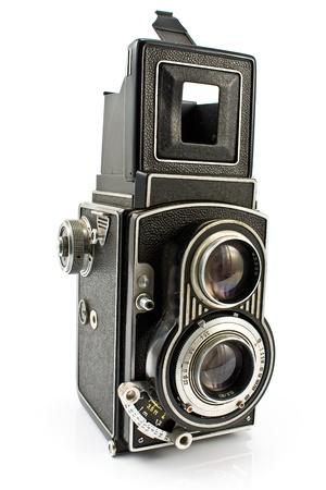 흰색에 고립 된 빈티지 두 개의 렌즈 사진 카메라