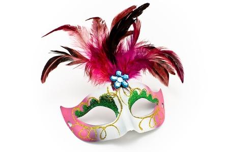 mascara de carnaval: Máscara de carnaval con plumas y diamante aislados en blanco