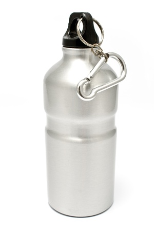 Grey aluminum water flask isolated on  white photo