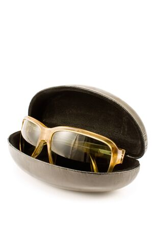Sunglasses in spectacle case isolated on white Stock Photo - 10503619