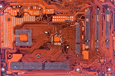 Red computer circuit board  photo
