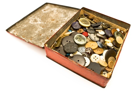 Clothing buttons collection in red tin box Stock Photo