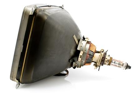 cathode ray tube: Back of old television cathode tube isolated on white