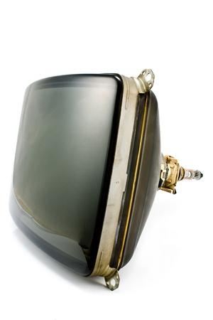 cathode ray tube: Old television cathode tube isolated on white Stock Photo