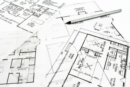bocetos de personas: Planos del plan de casa con un l�piz de dibujo