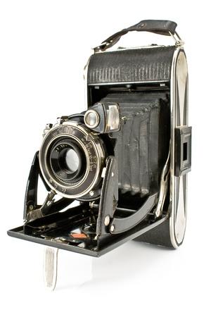 흰색에 고립 된 골동품 오래 된 사진 카메라 스톡 사진