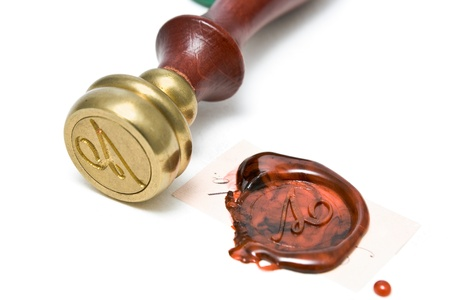 Personal stamp and wax seal isolated on white Stock Photo - 11011168