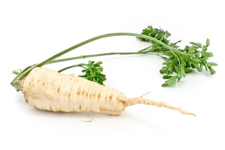 Fresh parsley with root and  leaf isolated on white