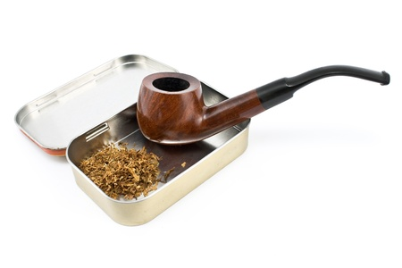 Tobacco pipe with tin box isolated on  white Stock Photo