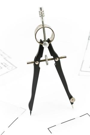 compas de dibujo: Dibujo Br�jula sobre fondo blanco Foto de archivo