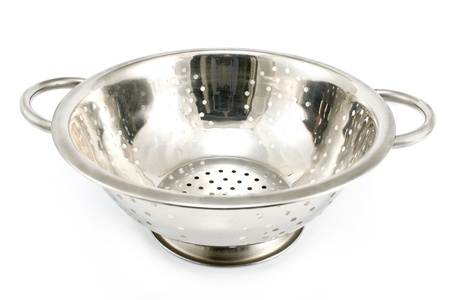 Chrome strainer on a white background photo