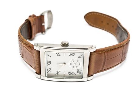 흰색에 고립 된 여성 사각 손목 시계