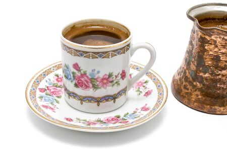 turkish coffee: Turkish cup of coffee with pot on white