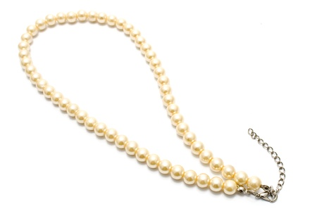 gold string: Pearl Necklace isolated on white