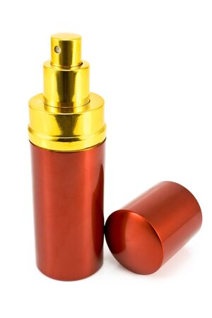 Red spray can isolated on white photo