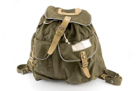 mochila viaje: Mochila de lona aislado en blanco Foto de archivo