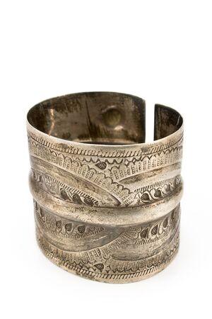 Antique silver bracelet isolated on white Stock Photo - 12963687