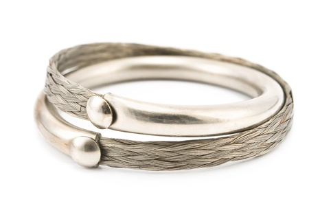 Silver bracelet isolated on white Stock Photo - 12963685