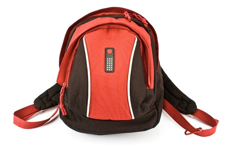 Red backpack isolated on white photo