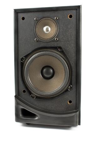 Black sound speaker isolated on white photo