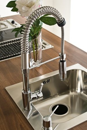 Modern kitchen counter, sink with flowers photo