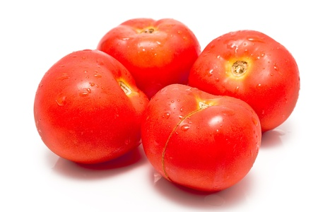 Fresh tomatoes isolated on white Stock Photo - 14125927