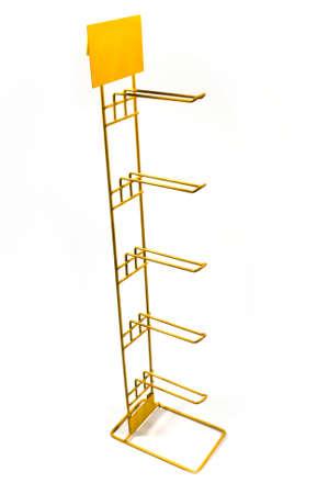 Yellow metal rack isolated on white photo