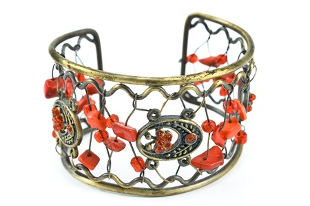 Bracelet with gems isolated on  white Stock Photo - 14341547