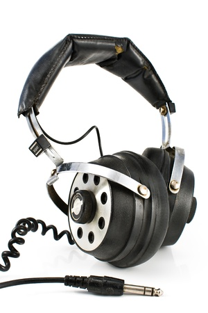 preamp: Pair of old sound headphones isolated on a white