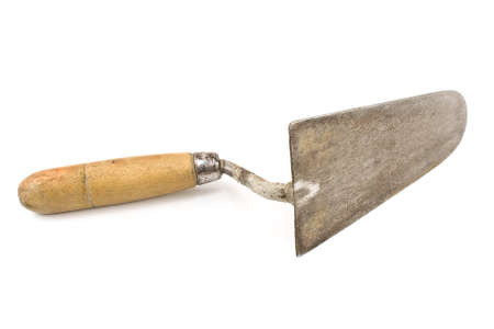 utilized: Old used trowel isolated on white