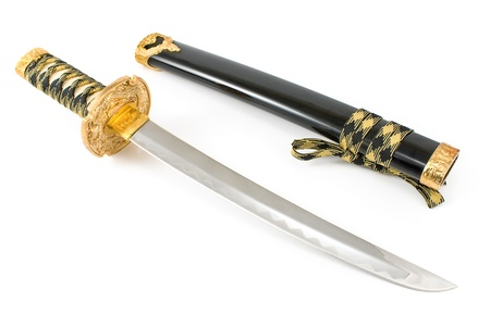 Japanese samurai katana sword isolated on white photo