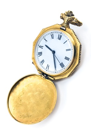 Antique gold pocket watch isolated on white Stock Photo - 15254789